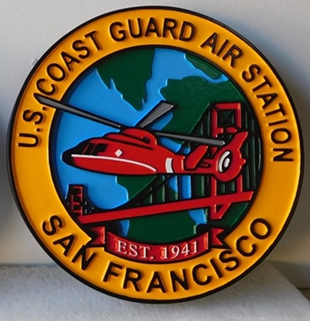 NP-2140- Carved Plaque of Seal of US Coast Guard Air Station, San Francisco,  Artist Painted