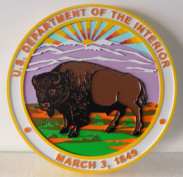 G16043 - Carved  Wall Plaque of the Seal for the Department of Interior, 2,5-D Artist-Painted , with Buffalo