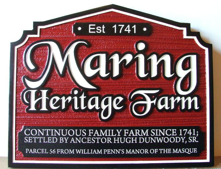 O24018 - Carved Wood Maring Heritage Farm Sign