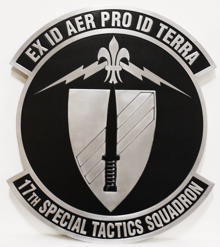 LP-3650 - Carved 2.5-D Aluminum-Plated HDU Plaque of the Crest of the 17th Special Tactics Squadron,US Air Force