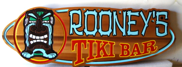 N23620 - Carved Cedar Sign, for Home or Pool  Tiki Bar , in Shape of Surfboard.
