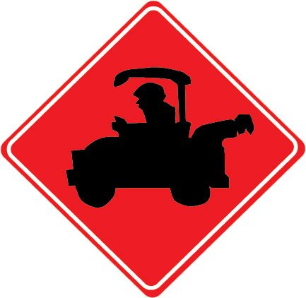 E14530 - Golf Cart Traffic Zone Sign with Elevated Golf Cart on a Red Background