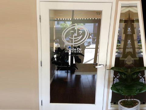 Etched vinyl door graphics Orange County