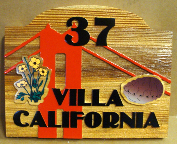 "I18939 - Carved Cedar Property Name and Address Sign, ""Villa California"", with Golden Gate Bridge and Flowers"