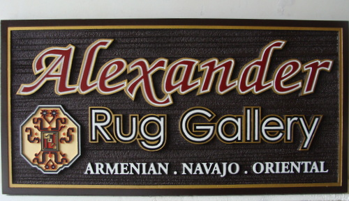 S28005 - Sandblasted, Woodgrain Sign for Armenian, Navajo  and Oriental Rug Gallery