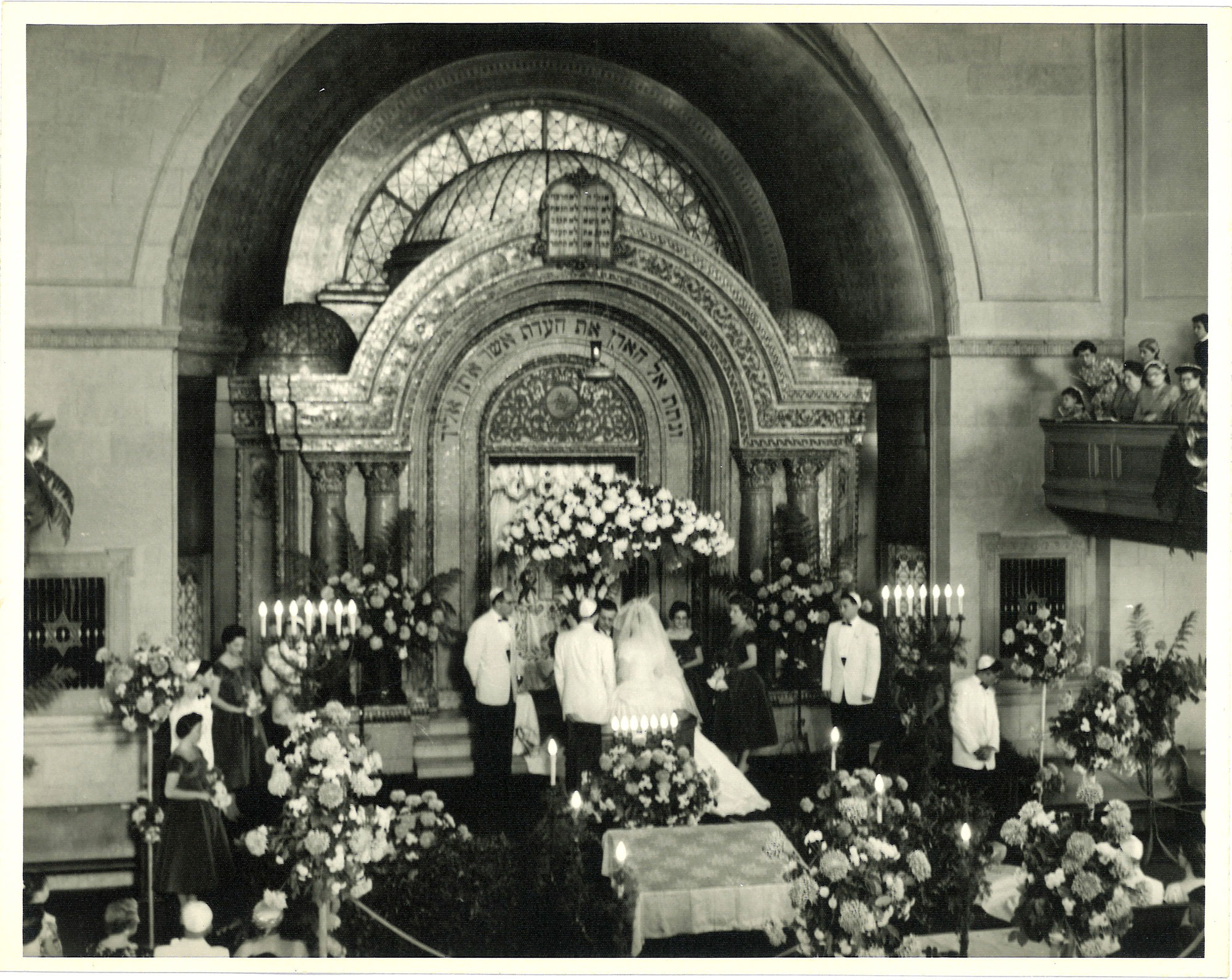 Wedding ceremony inside the Bikur Cholim synagogue