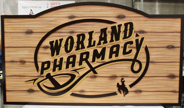 S28178 - Carved and Sandblasted Wood Grain Entrance  Sign for Worland Pharmacy, with Wood Appearance