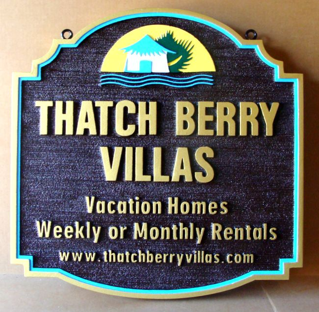 "K20180 - Carved and Sandblasted HDU Address Sign for the ""Thatch Berry Villas "" Vacation Homes, with  Hut"