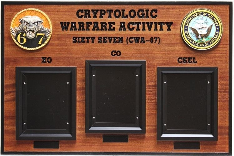 JP-2359 - Chain-of-Command Photo Board for the Cryptologic  Warfare Activity Sixty-Seven of the US Navy