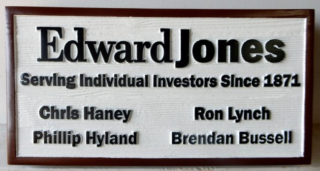 C12056 - Carved and Sandblasted Cedar Wood Sign for Edward Jones Brokerage Firm.