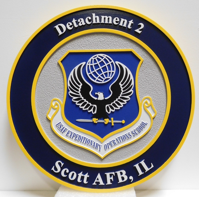 LP-2370 - Carved Plaque of the Shield Crest of the USAF Expeditionary Operations School, Detachment 2, Scott AFB, Illinois, Artist Painted