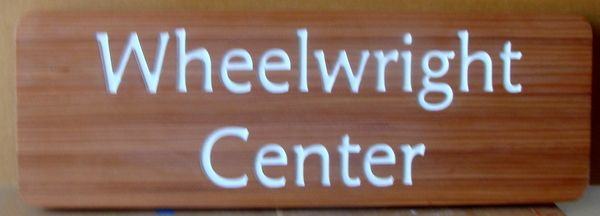 """SA28057 - Stained Mahogany Wooden Sign with Engraved Text  """"Wheelwright Center""""."""