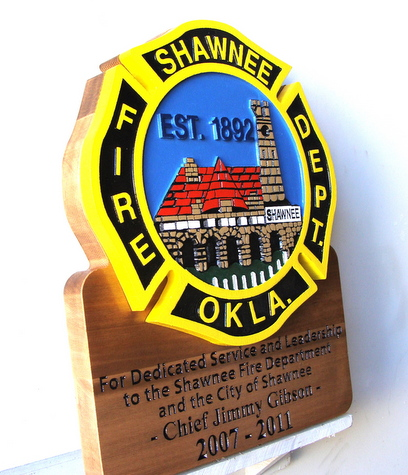 M3943 - Carved Wooden Retirement Plaque for Fire Department Chief (Gallery 33, page 2)