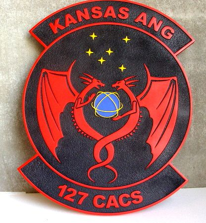 LP-4160- Carved Round Plaque of the Crest of the 127th CACS, Kansas ANG, Artist Painted