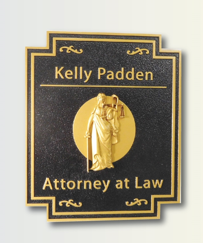 A10009 -   Attorney Sign, with Carved 3D Lady justice, Gilded with 24K Gold Leaf