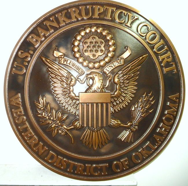 A10836 - 3-D Bronze Round Wall Plaque with Great Seal of the US Bankruptcy Courtroom