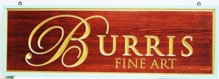 "SA28337 -Engraved 2.5-DCedar Wood  Sign for ""Burris Fine Art"", with 24K Gold Leaf Gilded Text"