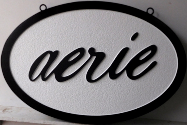 "SA28042 - Carved HDU Sign for the ""Aerie"" Store."