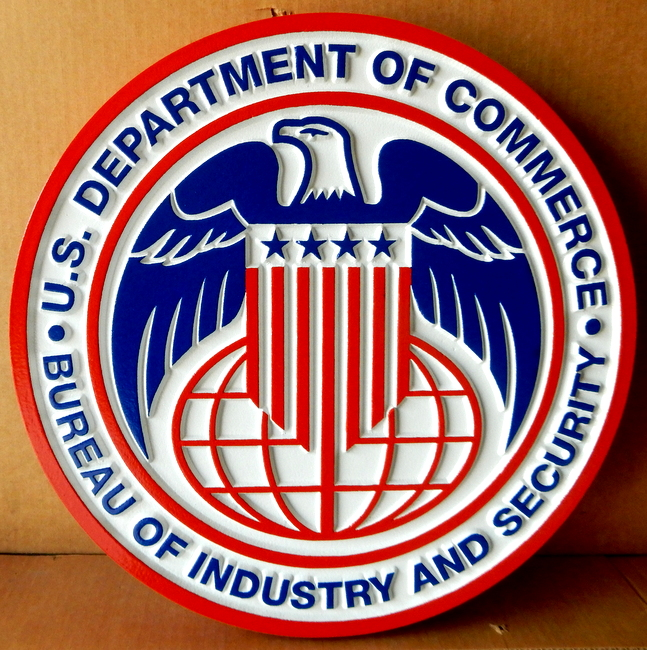 AP-5060 - Carved Plaque of the Seal of the US Department of Commerce, Bureau of Industry and Security,  Artist Painted