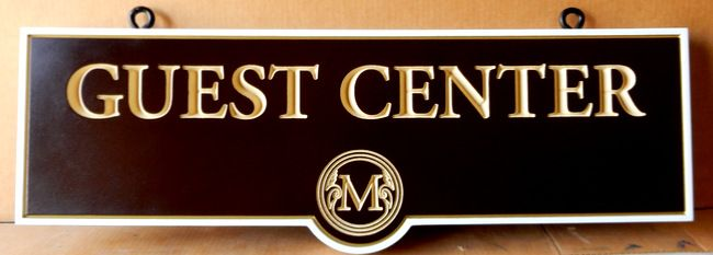 "T29426 - Elegant Carved Engraved HDU  ""Guest Center"" Signs for Hotel"