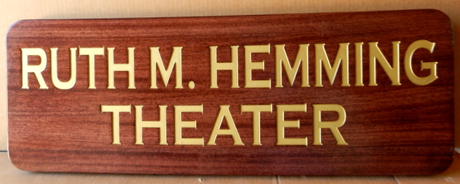 F15351 - Carved Mahogany Sign with Theatre Name in 24 K Gold Gilt
