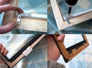 DIY framed shelves adding the brackets