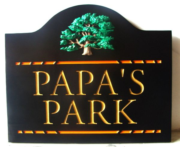 GA16465 - Carved HDU Sign for Park with 3D, with Carved Tree as Artwork