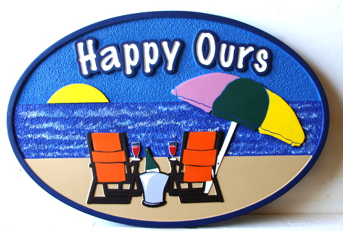 "L21008 - Carved Beachhouse Sign with Two Chairs and an Umbrella ""Happy Hours"""