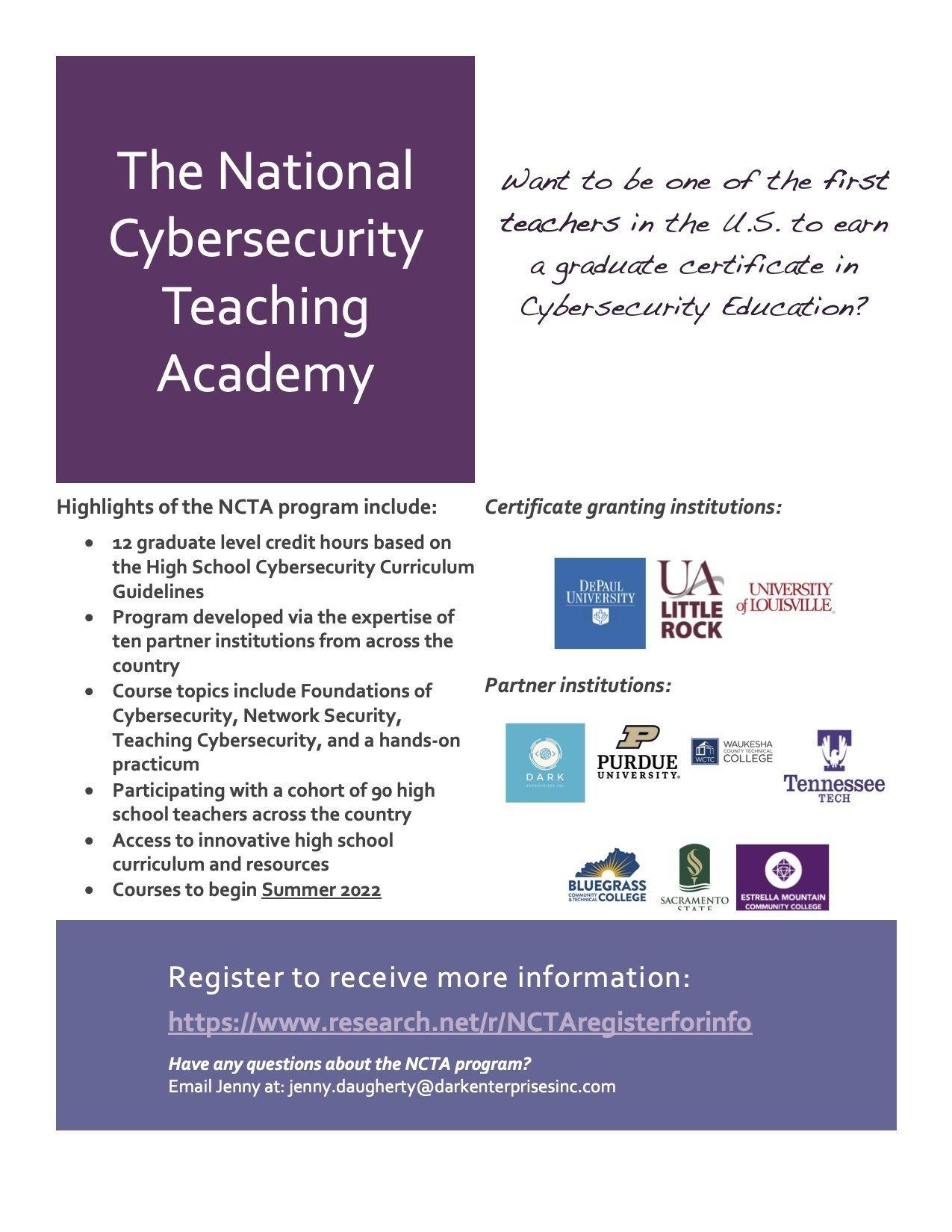 National Cybersecurity Teaching Academy for High School Teachers
