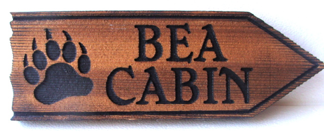M22884 - Rustic Bear Paw Print Wood Cabin Sign