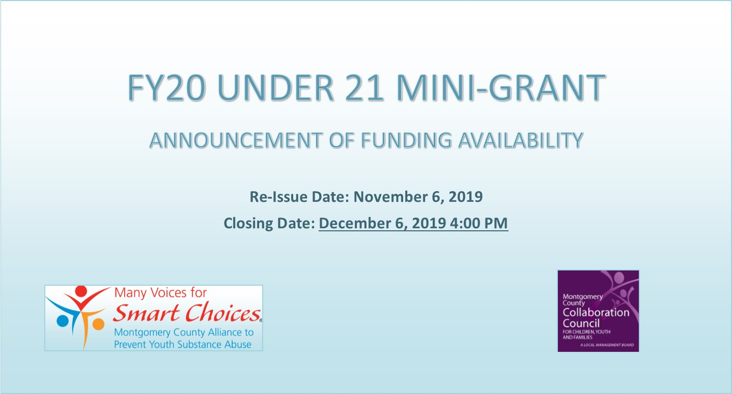 Re-Issue FY20 Under 21 Mini-Grant Funding