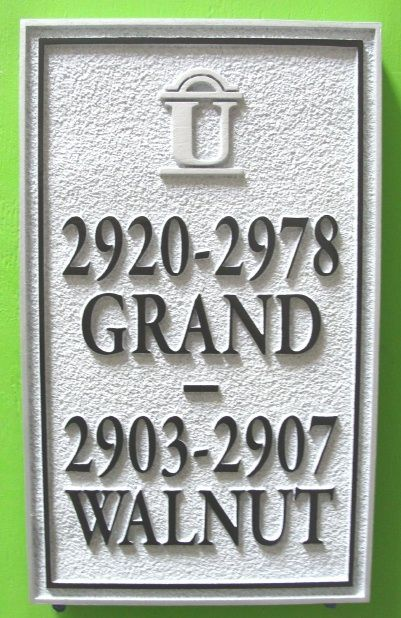 H17032 - Carved (HDU) Street Name and Multiple Address Number Sign, with Logo