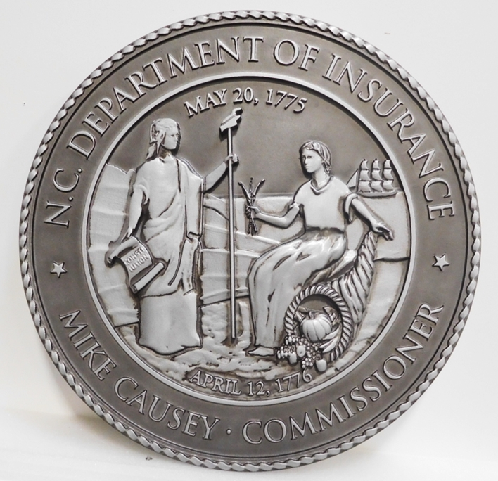 BP-1405 - Carved Plaque of the Great Seal of the State of North Carolina, Metallic Silver Paint