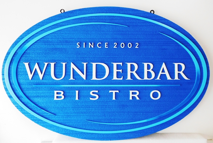 "RB27107- Carved and Sandblasted  HDU ""Wunderbar  Bistro"" Sign, 2.5-D Artist-Painted"