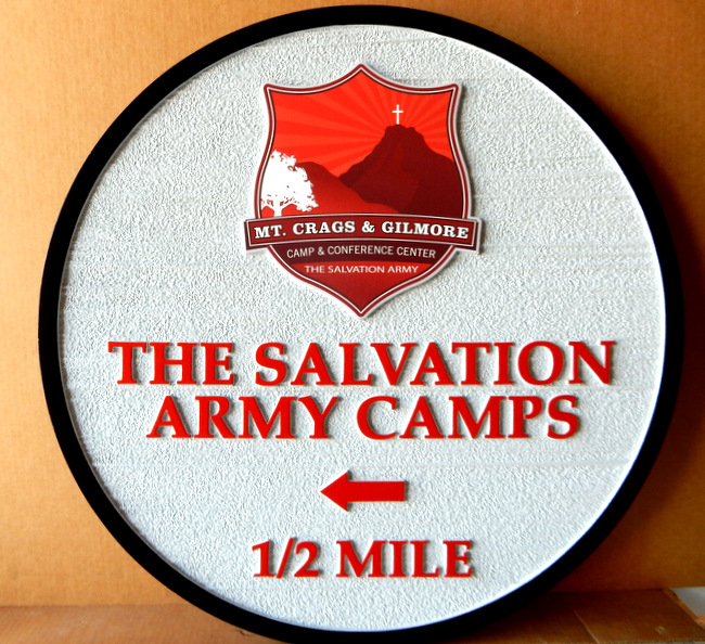 G16332 - Outdoor Directional Camp Sign with Arrow for Salvation Army Camp, with Salvation Army Logo of Cross and Mountain