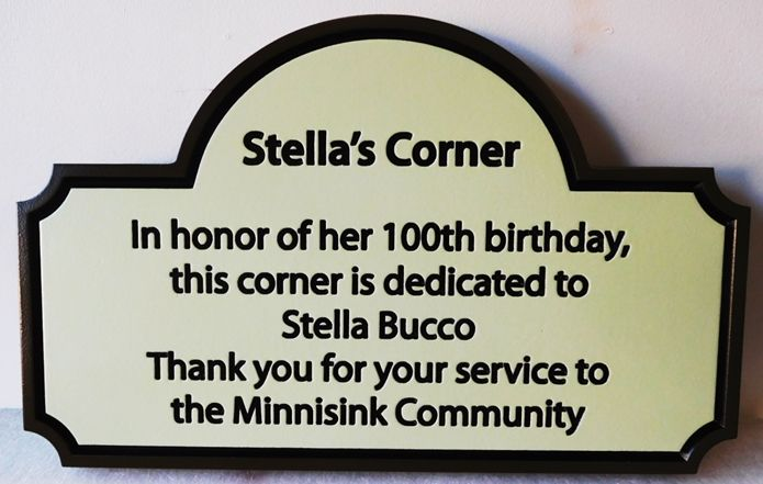 """GC15670 - Carved HDU Wall Plaque """"Stellas's Corner"""" honors Stella Bucco on Her 100th Birthday."""
