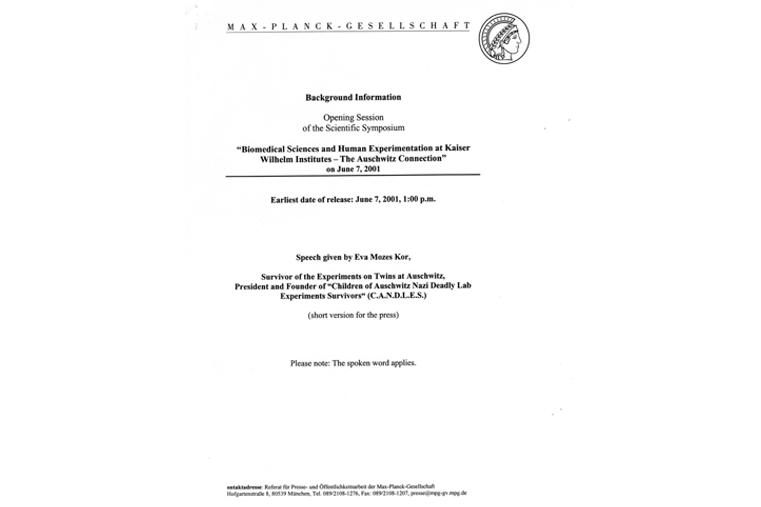June 7, 2001: Max Planck Symposium in Berlin