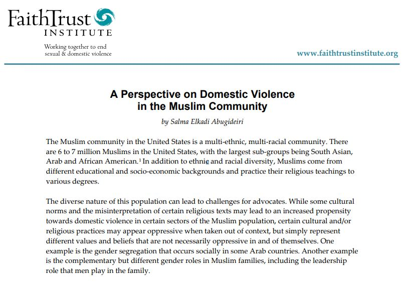 A Perspective on Domestic Violence in the Muslim Community