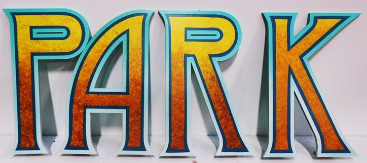 "GA16499 - Large Carved High-Density-Urethane (HDU)  Letters ""P A R K""  were made for Knott's Berry Farm Amusement Park"