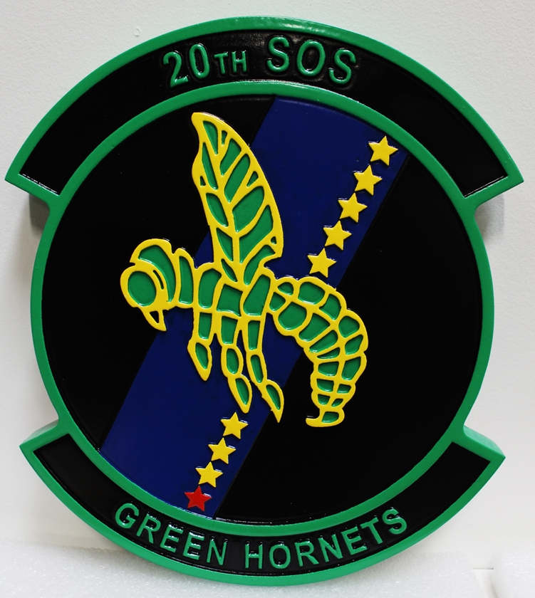 """LP-2860 - Carved Plaque of the Crest of the 20thSOS, """"The Green Hornets"""", 2.5-D Artist-Painted"""