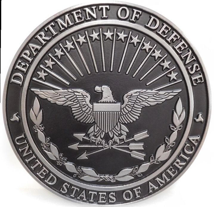 IP-1075 - Carved Plaque of the Great Seal of the Department of Defense, 2.5-D Aluminum-plated with Hand-rubbed black