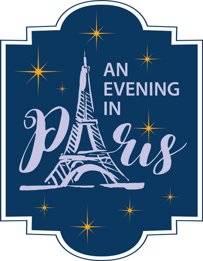 Image of the Eiffel Tower with stars and the words An Evening in Paris