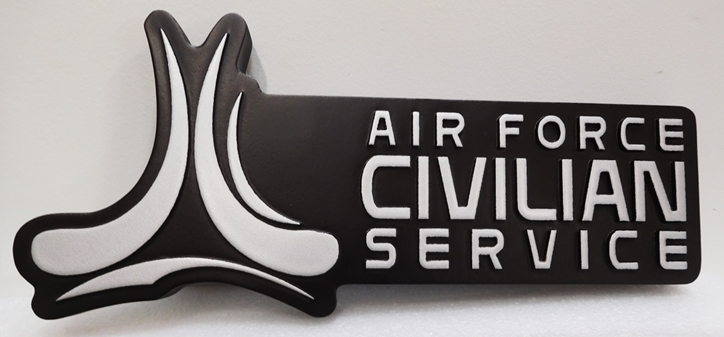 LP-1850 - Carved Plaque of the Logo for the Air Force Civilian Service, 2.5-D Aluminum-plated