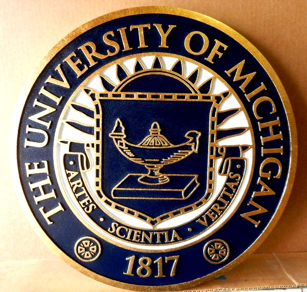 Y34302 - Carved 2.5-D  HDU Plaque, 24K Gold-Leaf Gilded, for the University of Michigan