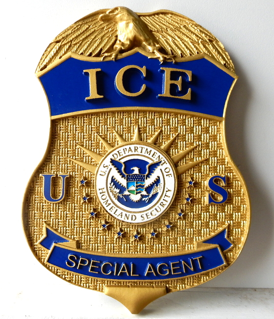 PP-1080 - Carved Wall Plaque of the Badge of an Agent of the Immigration & Customs Enforcement (ICE) of US Homeland Security, Artist Painted Metallic Brass