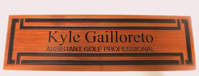 M3800 - Carved Cedar Wood Nameplate Sign for Assitant Golf Professional, Engraved Text and Borders