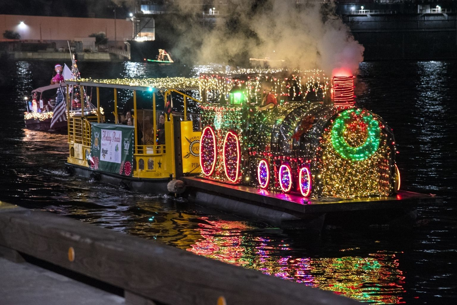 Holiday Lighted Boat on river