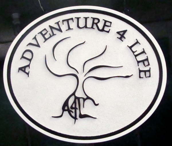 """SA28773 -Carved HDU Sign for """"Adventure 4 Life"""" with  Stylized Tree"""