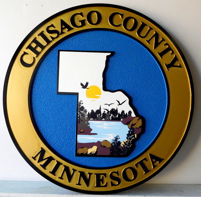 X33310 - Carved Wall Plaque of the Seal of Chicago County, Illinois