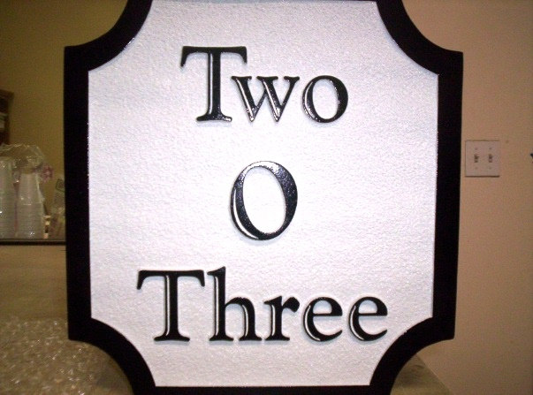 "I18804 - Sandblasted HDU Address Sign, ""Two O Three"" (203)"